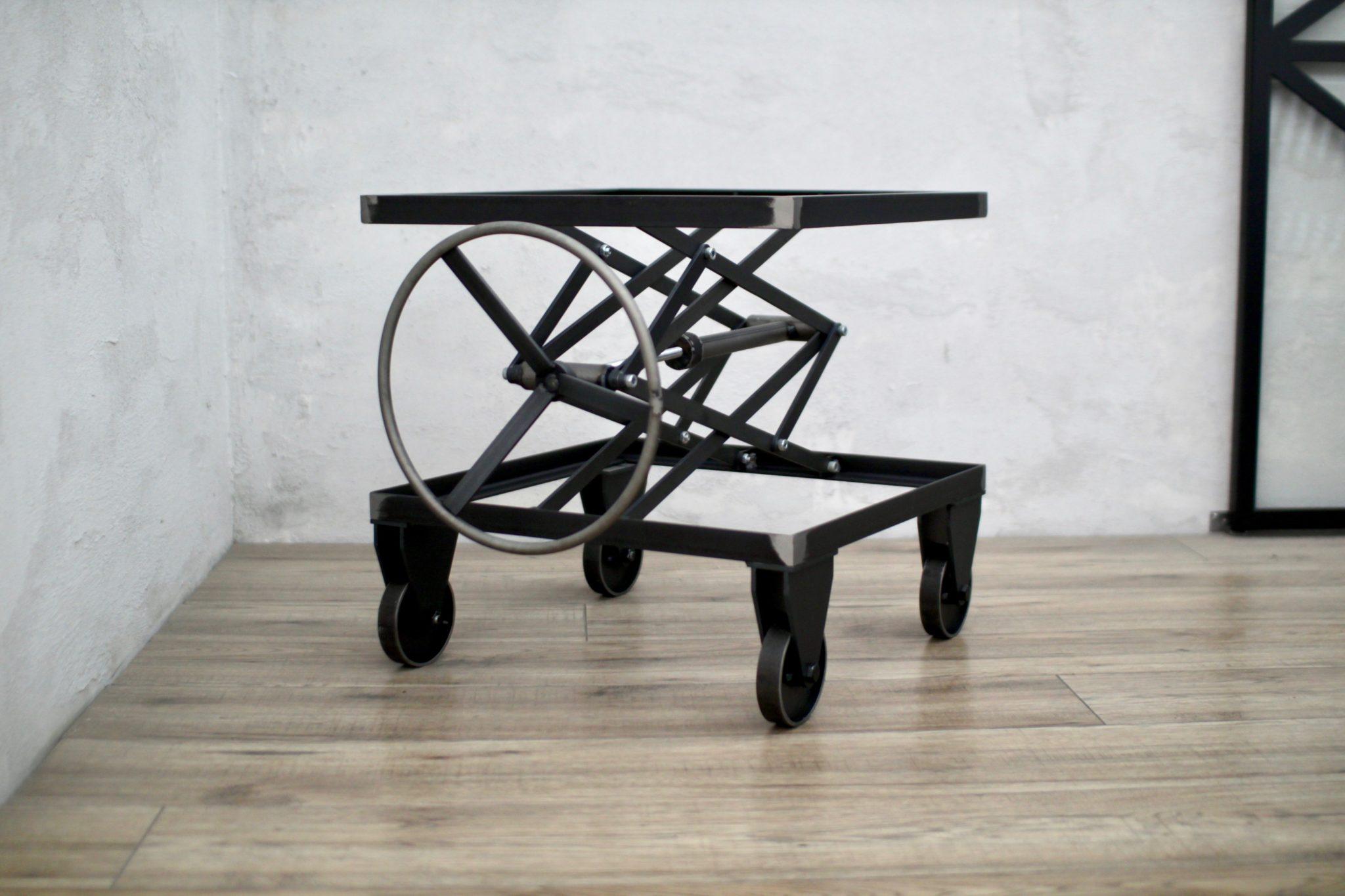 stolik Icon Winch, stolik industrialny, stolik kawowy, stolik podnośnik, podnośnik nożycowy stolik, stolik loft, stolik nowoczesny, stolik metalowy