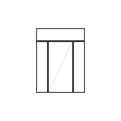 drzwi jednoskrzydłowe rozwierne z naświetlem i dwoma panelami bocznymi