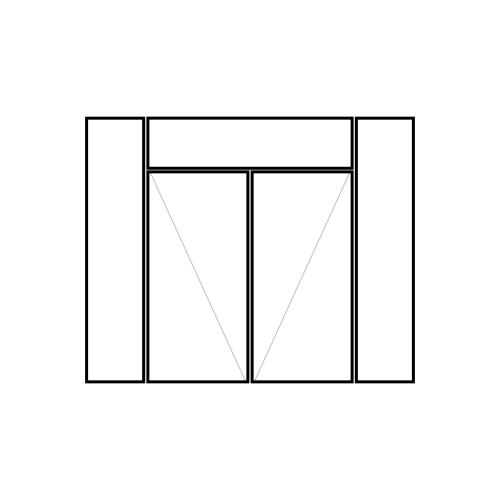 drzwi podwójne rozwierne z naświetlem i dwoma panelami bocznymi