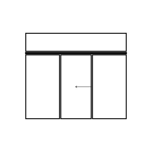 drzwi jednoskrzydłowe przesuwne z naświetlem i dwoma panelami bocznymi