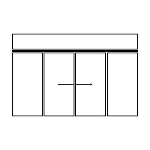 drzwi dwuskrzydłowe przesuwne z naświetlem i dwoma panelami bocznymi
